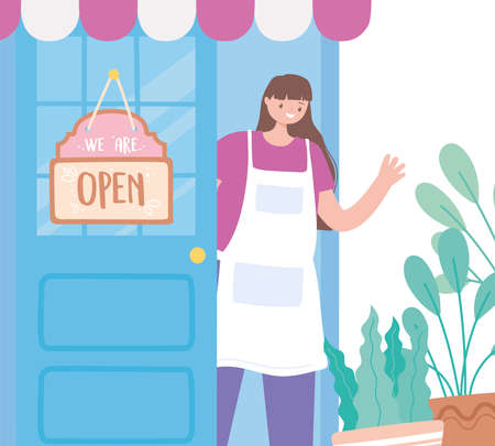 we are open sign, employee store exterior with a glass door and banner vector illustration Vettoriali