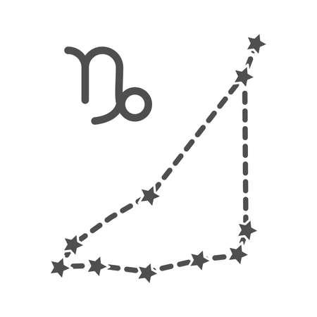 zodiac capricorn constellation astrological line style icon vector illustration Illustration