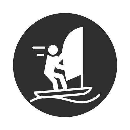 extreme sport sailing competition active lifestyle block and flat icon vector illustration