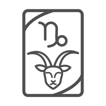 zodiac capricorn esoteric tarot prediction card line style icon vector illustration