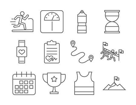 running sport race smart watch scale loss track flag calendar line icons set design vector illustration