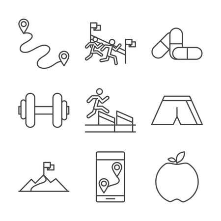 running sport race track flag finish apple barbell medicine line icons set design vector illustration