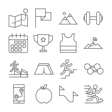 running sport race flag mountains trophy apple barbell line icons set design vector illustration