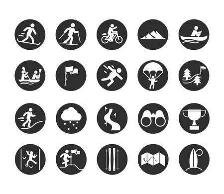extreme sport active lifestyle snowborder ski runner paraglider block and flat icons set vector illustration Vettoriali