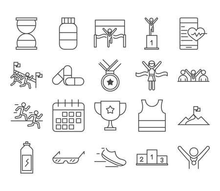 running sport race clock medicine medal shoe power beverage calendar line icons set design vector illustration