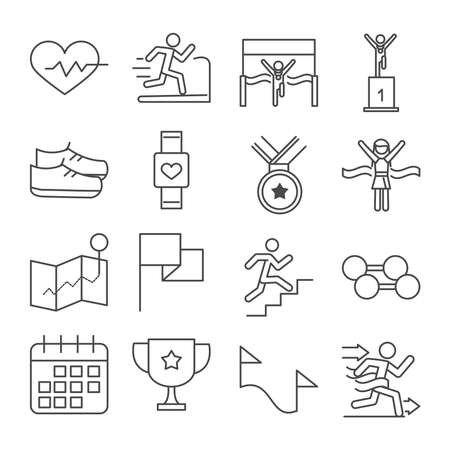 running sport race heartbeat runner podium shoes watch trophy barbell line icons set design vector illustration