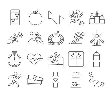 running sport race smartphone apple flag stadium weight scale runner line icons set design vector illustration