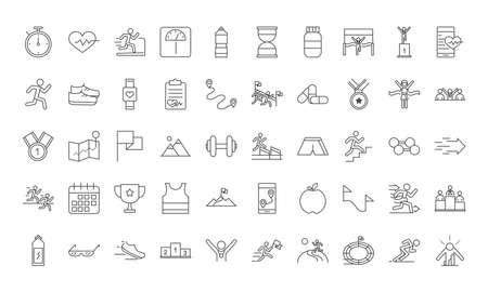 running sport race line icons set design vector illustration