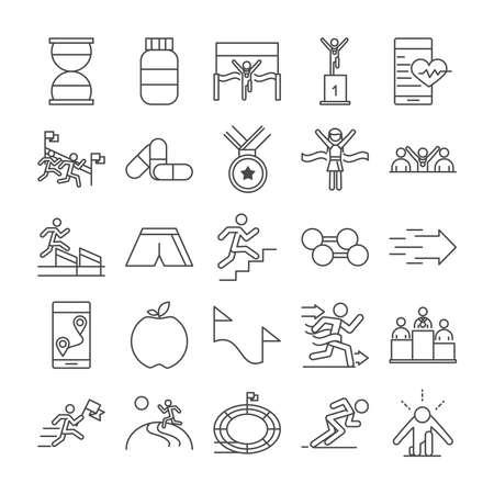 running sport race clock protein medal barbell apple stadium people line icons set design vector illustration