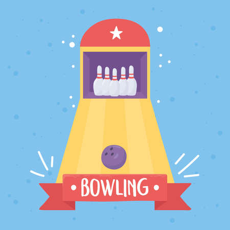 bowling alley ball pins board game recreational sport flat design vector illustration