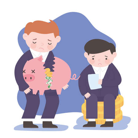 bankruptcy businessmen holding piggy bank and coins business financial crisis vector illustration