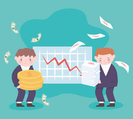 bankruptcy businessmen holds coins and sheets chart down arrow business financial crisis vector illustration Vettoriali