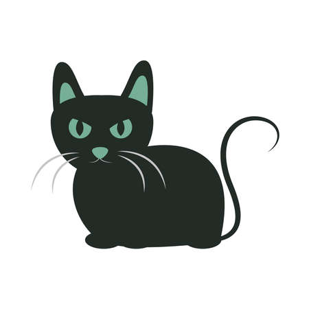 black cat with eyes and ears green animal cartoon flat icon design vector illustration