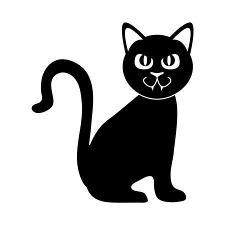 black cat sitting domestic animal silhouette icon vector illustration