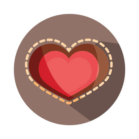 love heart romatic dotted outline block and flat icon vector illustration