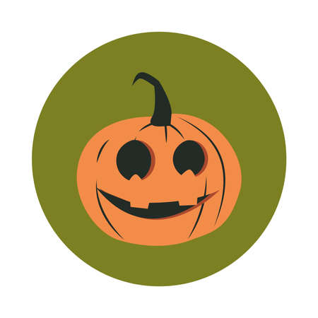 happy halloween, horror face pumpkin trick or treat party celebration flat and block icon vector illustration