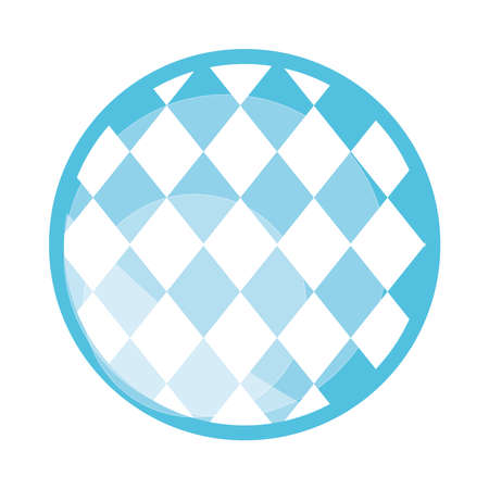 traditional blue checkered pattern flat icon design vector illustration