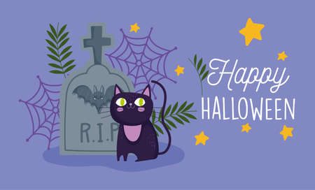 happy halloween, black cat tombstone bat cobweb stars trick or treat party celebration vector illustration