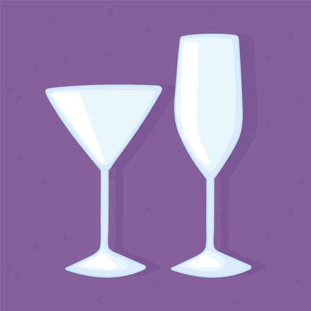 plastic or glass cups bottles mockups, glass cups for drink empty vector illustration 일러스트