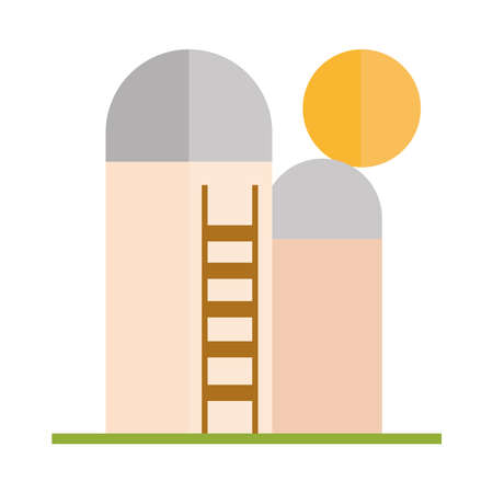 agriculture and farming silo storage grain and stairs flat icon style vector illustration