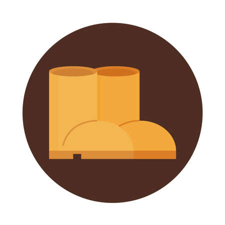 boots work equipment fashion block and flat icon vector illustration
