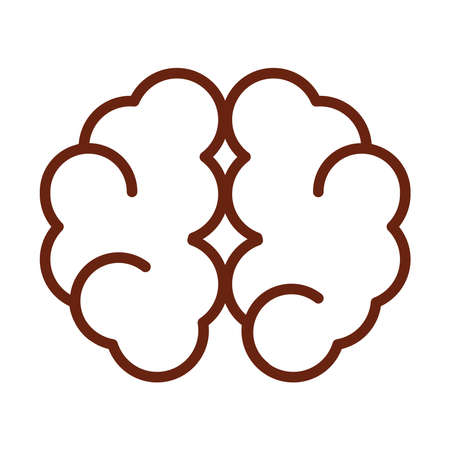 human body brain cerebral hemisphere anatomy organ health line icon style vector illustration