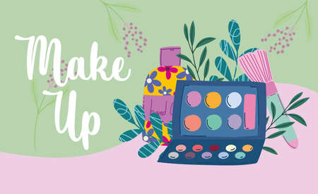 makeup cosmetics product fashion beauty eyeshadow palette brush and hand cream vector illustration Vektoros illusztráció