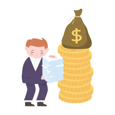 bankruptcy sad businessman stack of papers coins and money bag business financial crisis vector illustration