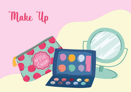 makeup cosmetics product fashion beauty cosmetic bag mirror eyeshadow palette vector illustration