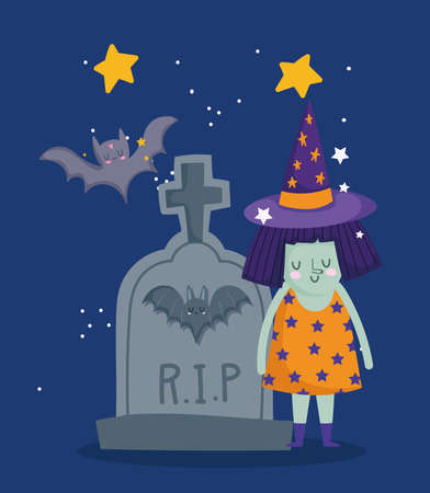 happy halloween, witch costume tombstone bats night stars trick or treat party celebration vector illustration 向量圖像