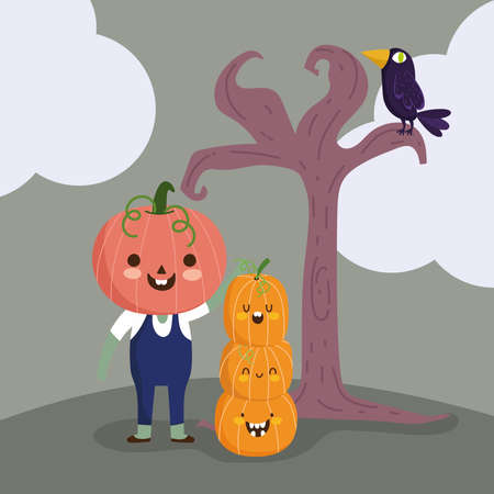 happy halloween, boy with pumpkin costume tree raven trick or treat party celebration vector illustration