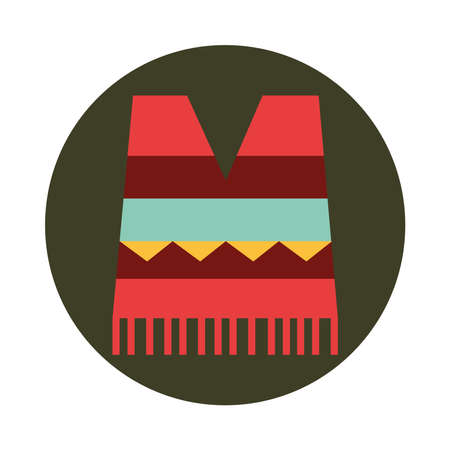 mexican poncho clothes folk culture traditional block and flat icon vector illustration