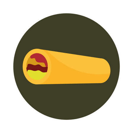 mexican burrito food culture menu restaurant block and flat icon vector illustration