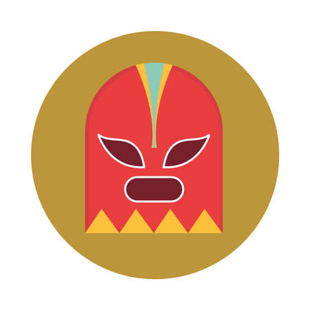 mexican fighter mask traditional block and flat icon vector illustration