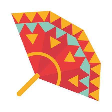 colored fan accessory decoration ornament flat icon vector illustration