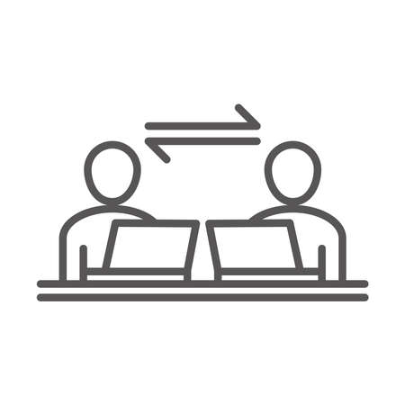 people employee with laptop, coworking office business workspace, line icon design vector illustration Çizim