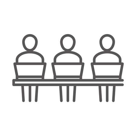 people using laptop computer, coworking office business workspace, line icon design vector illustration