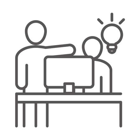 people working computer creativity, coworking office business workspace, line icon design vector illustration Çizim