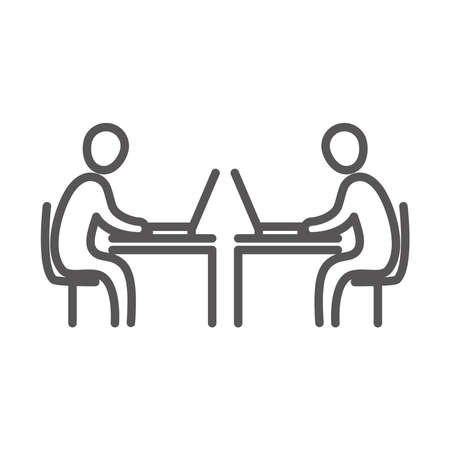 business people using laptop in the desks, coworking office workspace, line icon design vector illustration