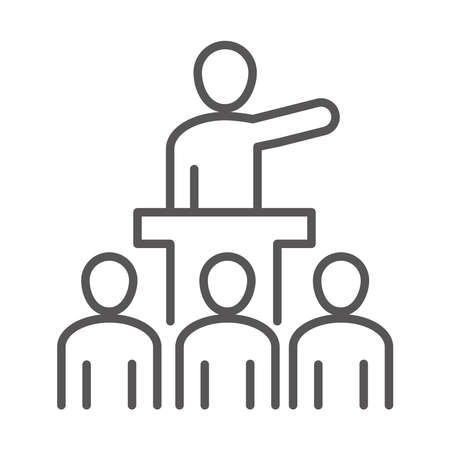 leadership team people meeting, coworking office business workspace, line icon design vector illustration