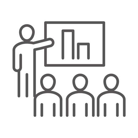 people company presentation report, coworking office business workspace, line icon design vector illustration
