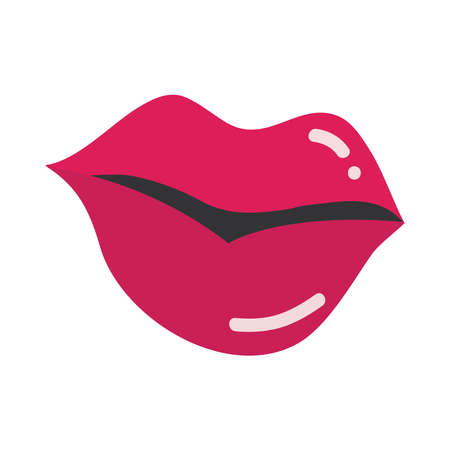 pop art mouth and lips, beautiful female lips with a lipstick, flat icon design vector illustration