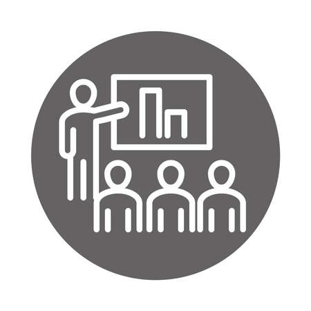 people company presentation report, coworking office business workspace, block and line icon vector illustration Çizim