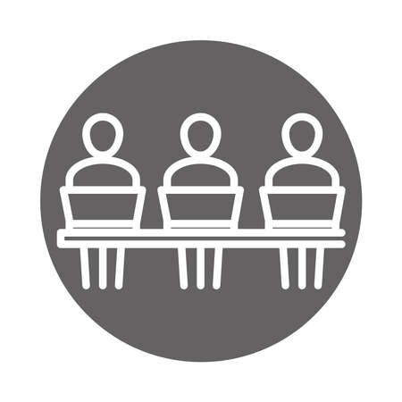 people using laptop computer, coworking office business workspace, block and line icon vector illustration
