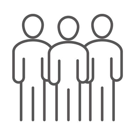 team group people avatar, coworking office business workspace, line icon design vector illustration Çizim