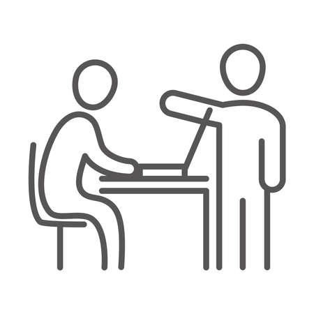 colleagues in company, laptop in the desk, coworking office business workspace, line icon design vector illustration