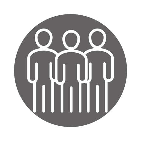 team group people avatar, coworking office business workspace, block and line icon vector illustration