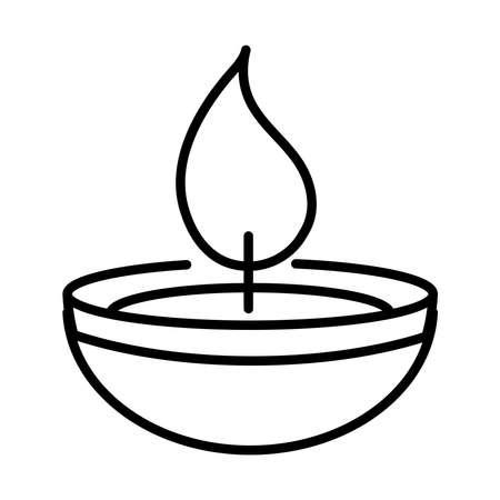 happy diwali india festival, diya lamp deepavali religion event line style icon vector illustration