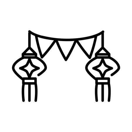 happy diwali india festival, deepavali religion event decoration pennants lanterns line style icon vector illustration