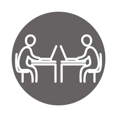 business people using laptop in the desks, coworking office workspace, block and line icon vector illustration